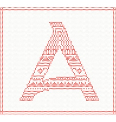 Red knitted Letter A with ornament vector image