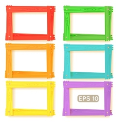 Wooden picture frames color set vector image vector image