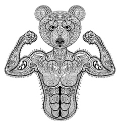 Zentangle stylized strong Bear Hand Drawn sport vector image vector image