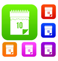 10 date calendar set color collection vector image