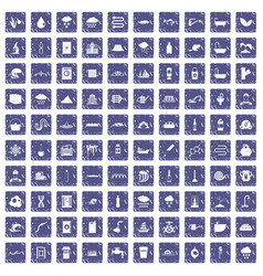 100 water supply icons set grunge sapphire vector