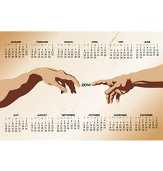 2014 creation of adam Calendar vector image
