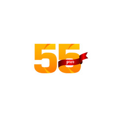 55 years anniversary celebration yellow with red vector