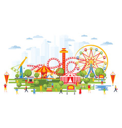 amusement park with carousels in cartoon style vector image