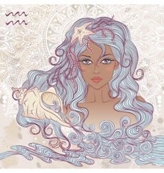 Aquarius as a portrait of beautiful african girl vector image