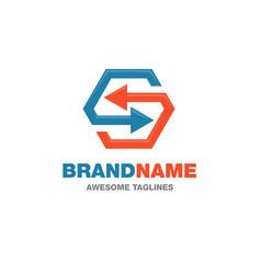Arrows link recycled logo vector