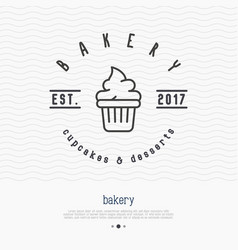 Bakery logo with thin line icon of cupcake vector