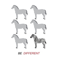 Be different - zebra and horses vector