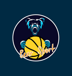 bear sport basket ball vector image