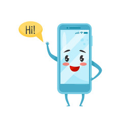 Blue humanized smartphone with funny face waving vector