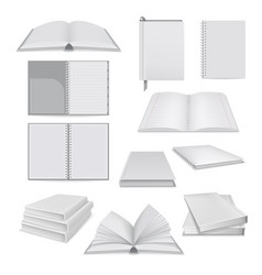 book notepad mockup set realistic style vector image