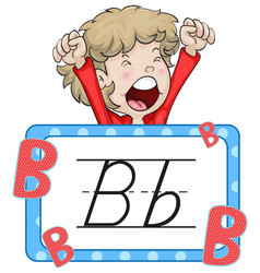 Boy and flashcard for letter b vector