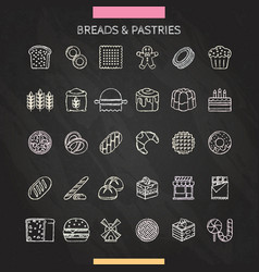 Bread and pastry chalk vector