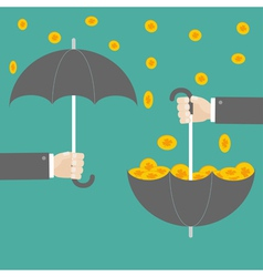 Businessman hand holding umbrella with success vector