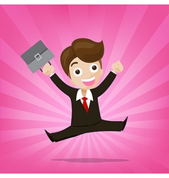 Businessman jumping with joy on sunburst pink vector image