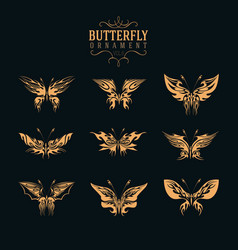 butterfly ornament set vector image