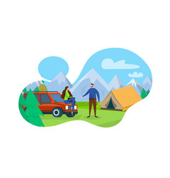 camping with tent on mountain nature landscape vector image