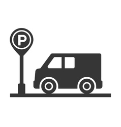 Car with Parking Meter Icon on White Background vector image