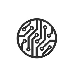 Circle circuit board icon images vector