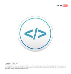 Code icon - white circle button vector
