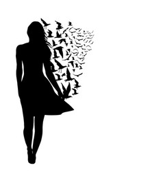 Colorful silhouettes of woman with birds vector