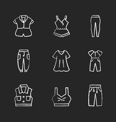Comfortable homewear chalk white icons set vector