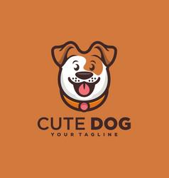 Cute dog smile logo design vector
