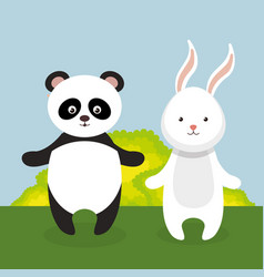 Cute rabbit and panda in the field landscape vector