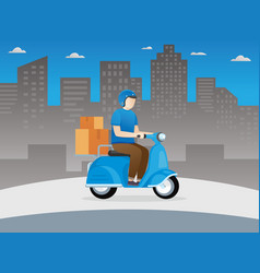 delivery guy on scooter vector image