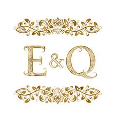 e and q vintage initials logo symbol vector image