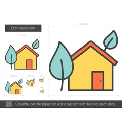 Eco house line icon vector