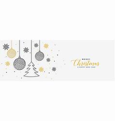 Elegant merry christmas white banner in line style vector