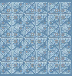 Ethnic tiled pattern background in blue colors vector