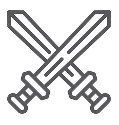 fighting line icon game and play crossed swords vector image