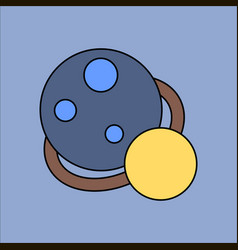 Flat icon design collection two planets vector