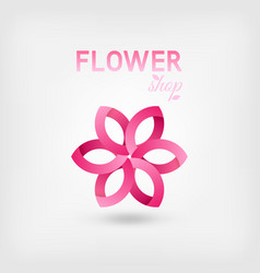 flower shop logo design pink color vector image