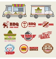 Food truck emblems and vehicle template vector