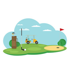 Golf flag with ball flat style design vector