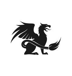 Griffin animal mythology logo design silhouette vector