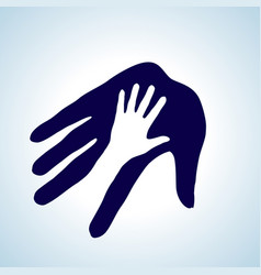 hand in hand in white and blue help assistance vector image vector image