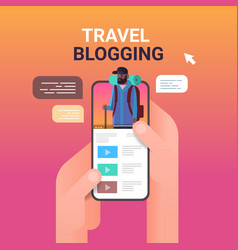 Hands using smartphone with travel blogger on vector