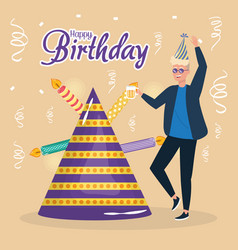 happy birthday man with party hat and candles vector image