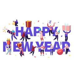 happy new year celebration concept tiny male and vector image