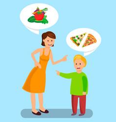 Healthy and unhealthy food choice vector