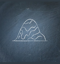 Hill icon on chalkboard vector
