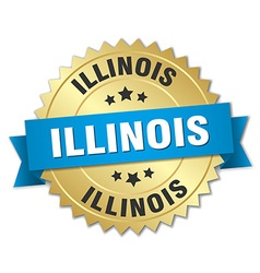 Illinois round golden badge with blue ribbon vector