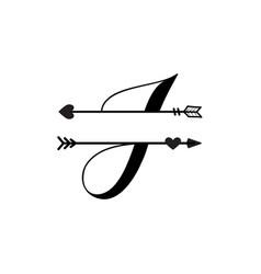 Initial j love monogram split letter isolated vector