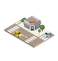 Isometric city fast food restaraunt hot dog vector