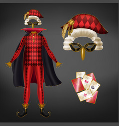 joker costume and playing cards realistic vector image
