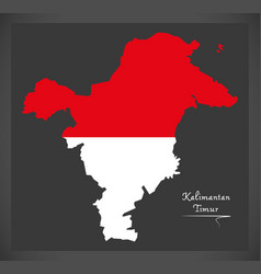 Kalimantan timur indonesia map with indonesian vector